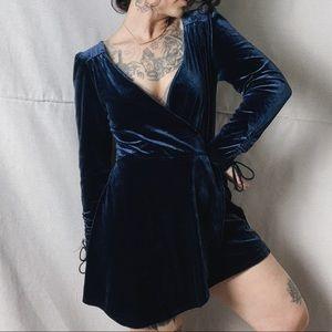 URBAN OUTFITTERS Blue Velvet Skort Romper M